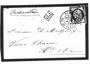 """Timbre """"Cérès"""" (lettre du 29 janvier 1874)"""