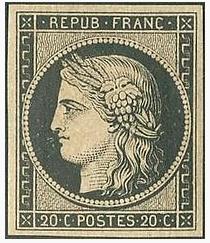"""Le timbre """"Cérès"""" noir de 1849 (premier timbre français)"""