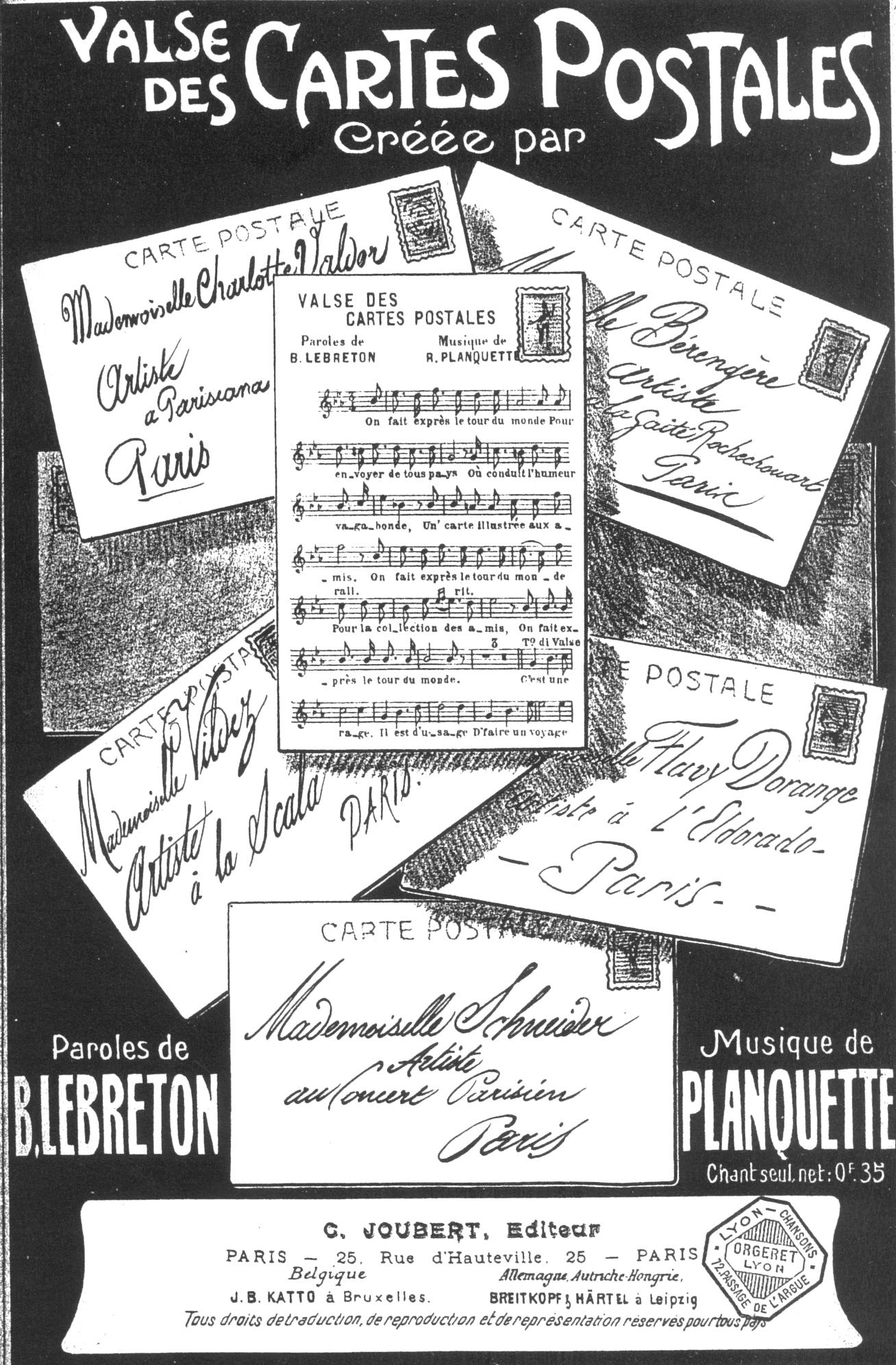 Valse Des Cartes Postales Une Chanson Vers 1910