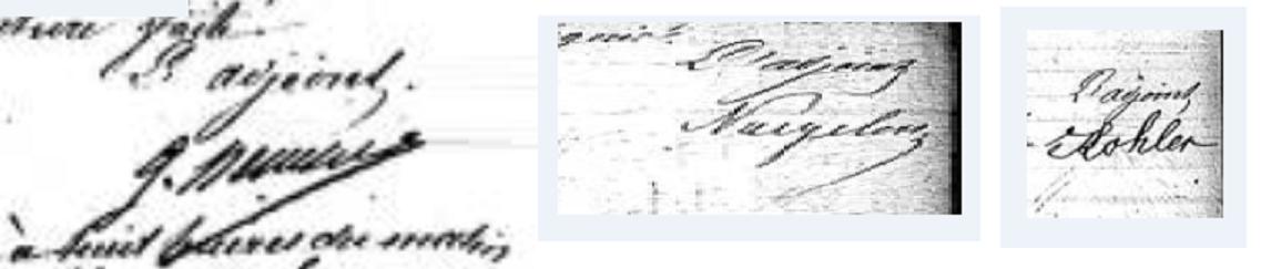Signature des adjoints sur des actes d'état-civil en 1865, 1867, 1870
