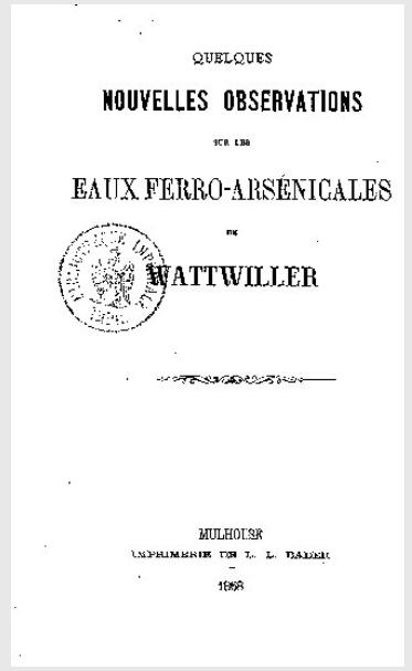 Notice sur les eaux de Wattwiller, par le docteur  J.-F.-Xavier Heuchel (BNF)