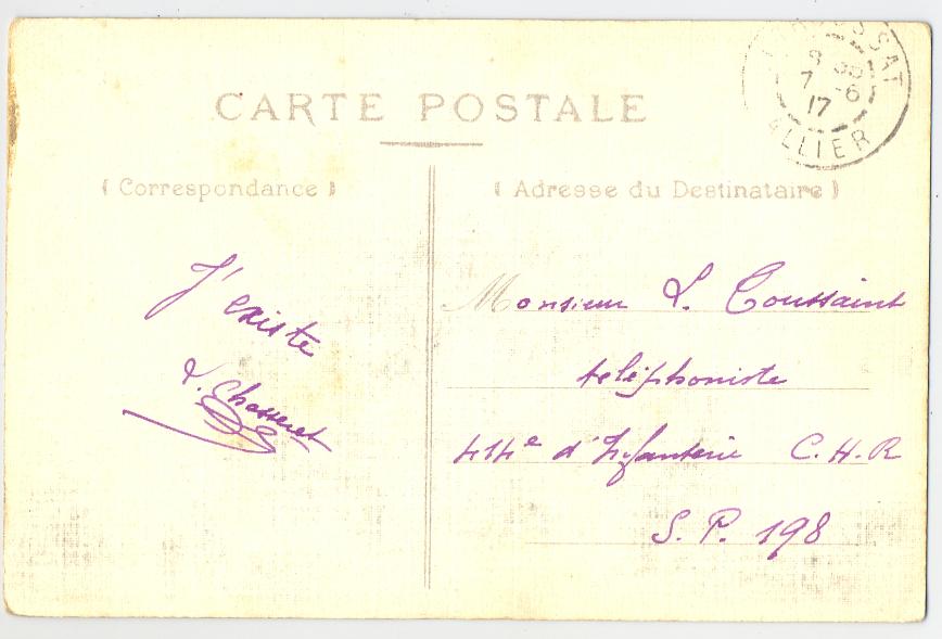 Carte postale – 1917 – Grottes de Bayet : « J'existe » (col. particulière)