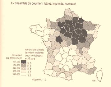 Courrier échangé d'après l'enquête de 1847 (La Correspondance, op. cit., page 55)