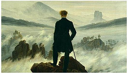 Caspar David Friedrich (1774-1840), Le voyageur contemplant une mer de nuages, 1817 (Hambourg, Kunsthalle)