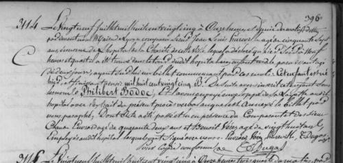 Extrait du registre de l'état-civil de Lyon, 29 juillet 1825